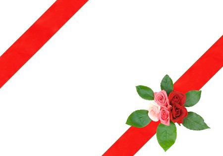 Frame of the ribbon with Rose bouquet photo