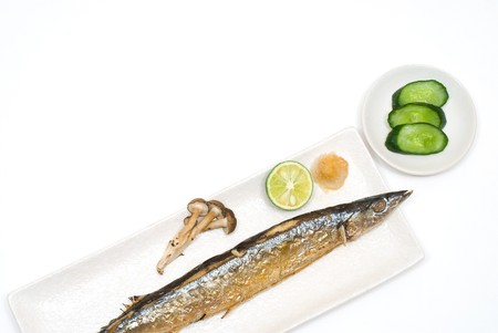 Grilled saury on the Plate with Pickle Stock Photo - 7602506