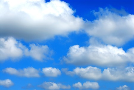 float cotton cloud: Autumn sky and cottony clouds