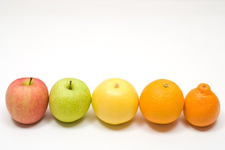 colord: Row of citrus and apple