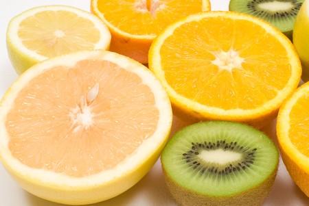 sourness: Many kinds of cut fruit Stock Photo