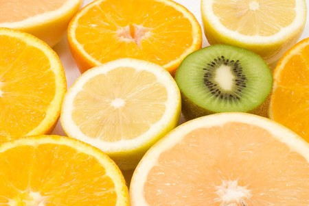 colord: Many kinds of cut fruit Stock Photo