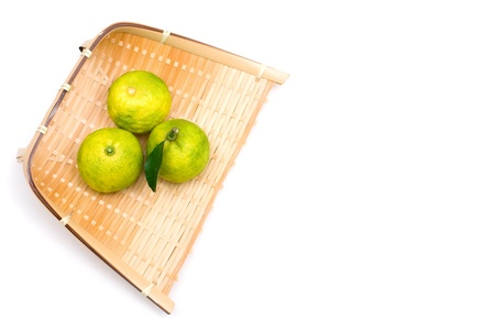 colord: Japanese small citron named Yuzu Stock Photo