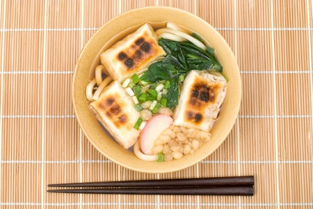 named: Japanese wheat-flour noodles with Mochi(Rice cakes) named Chikara Udon