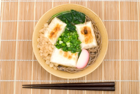 Japanese buckwheat-flour noodles with Mochi(Rice cakes) named Chikara Soba Stock Photo - 9357931