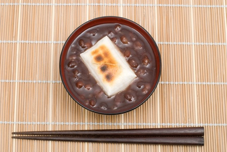 Japanese sweet red-bean soup(whole beans in) with Mochi(Rice cakes) named Zenzai photo