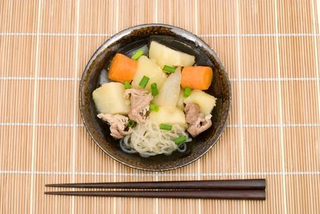 Japanese stewed meat and potatoes named Nikujaga photo