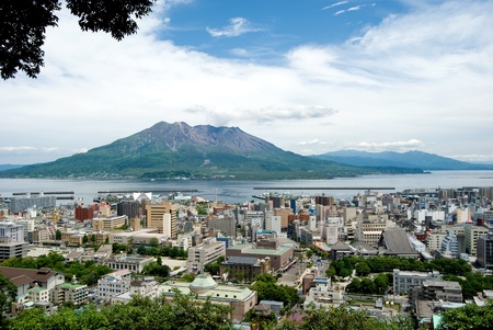 active volcano: Active volcano in the near future of Kagoshima City, Japan. named Sakurajima