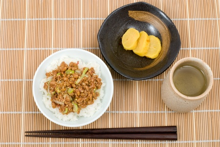 fermented: Japanese fermented soybeans(Natto) on the rice named Natto Gohan Stock Photo