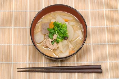Japanese pork meat and vesitable soup named Tonjiru photo