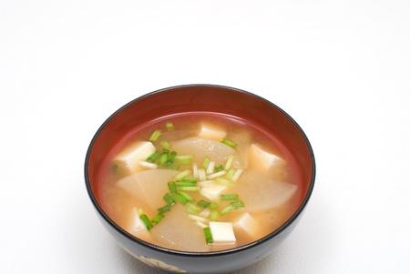 Miso soup with White radish and Tofu photo