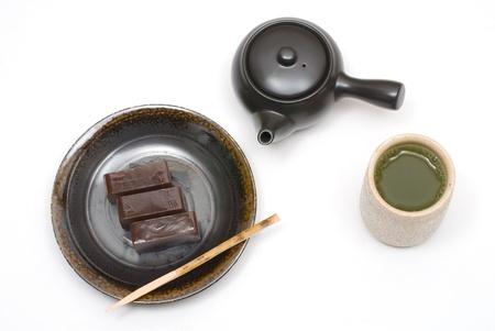Japanese sweet jellied bean paste dessert named Youkan photo