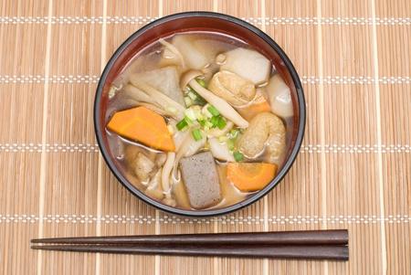 Japanese Zen Buddhist vegetable soup(not use meat) named Kenchinjiru Stock Photo