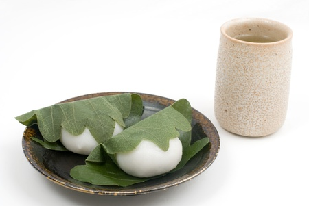 sweetened: Japanese rice cake stuffed with sweetened bean jam, wrapped in oak leaf, for Childrens Day(May 5th). named Kashiwamochi