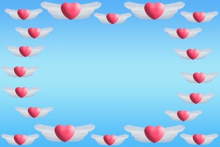ピンクの背景に心の翼をフローティング 写真素材