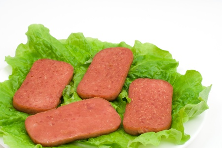 luncheon: luncheon meat on the lettuce