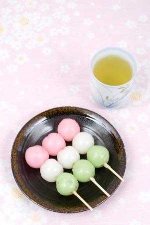 Japanese three colors rice dough dumplings named Sansyoku-dango(or Hanami-dango) Stock Photo