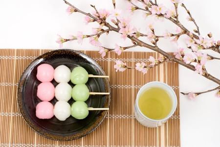 Japanese three colors rice dough dumplings named Sansyoku-dango(or Hanami-dango) Imagens
