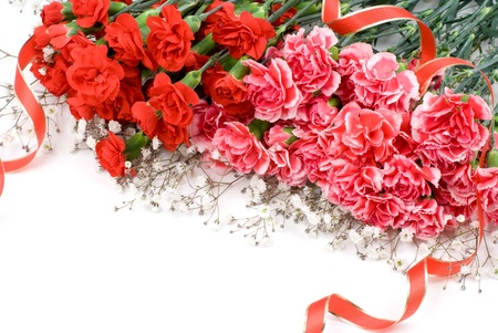 Two colors of carnation bouquet and ribbon photo