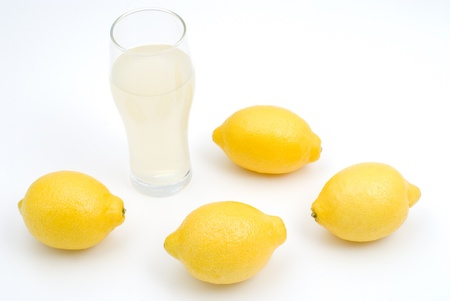 sourness: Lemon and Lemon juice on a white background