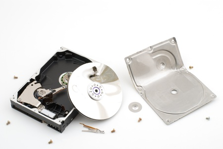 peripherals: Destroying hard disk drive on a white background