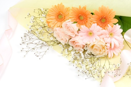Bouquet on the yellow wrapping paper Stock Photo - 10279509