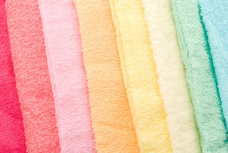 Background and texture of multi color towels lined diagonally Stock Photo - 12917070