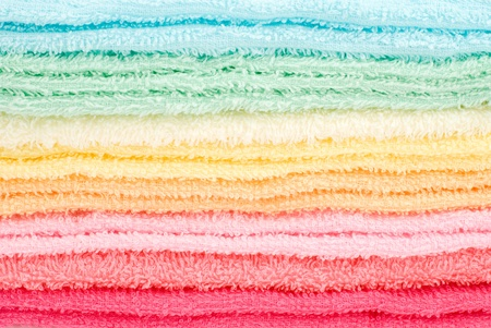 laden: Background and texture of multi color laden towels Stock Photo