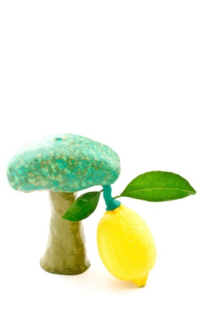 become: Lemon become a clay tree set isolated on white background