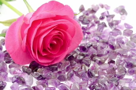Pink rose and amethyst rough stones on white background photo