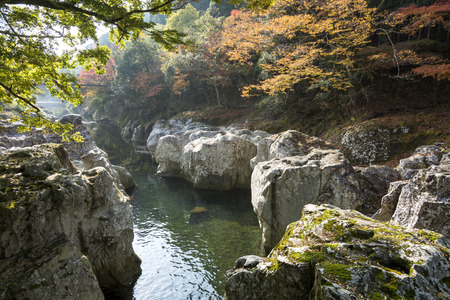 bracing: River flowing between a rock in late autumn Stock Photo