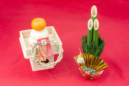 lucky charm: Round rice cake and pine tree gate of japanese new year decorations