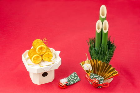 small articles: Golden straw bag and pine tree gate of japanese new year decorations