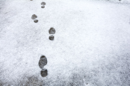 Footprints in a thin layer of snow