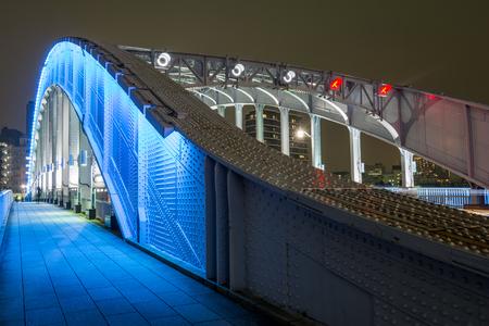 light up: Close up of blue light up Eitai bridge in Tokyo at night Stock Photo