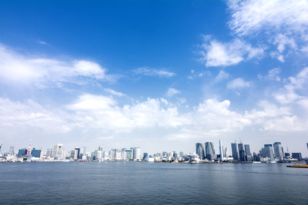 panoramic sky: Panoramic view of Tokyo gulf area under sky Stock Photo