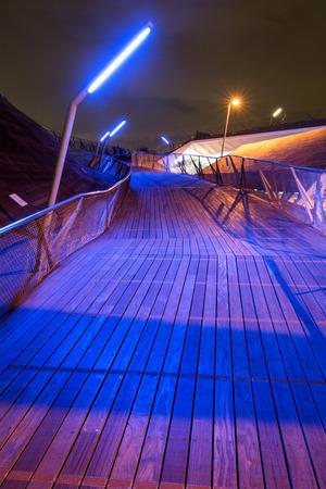 irradiate: Wood floors exposed to blue lighting in Yokohama at night Stock Photo