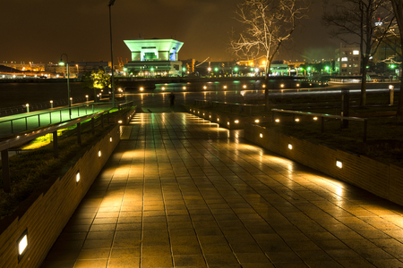 walkway: Seaside park with step light illuminates in Yokohama at night