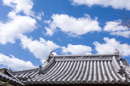 altocumulus: Buddhist temple roof and blue sky with altocumulus clouds