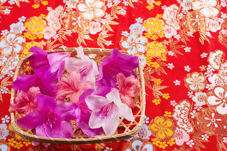 sieve: Colorful azalea flowers on bamboo sieve over old japanese cloth