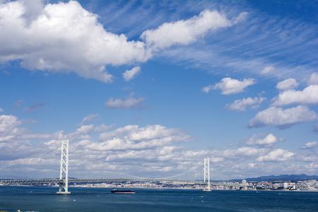 turnpike: Akashi kaikyo bridge under blue sky with clouds