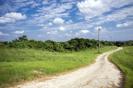 Winding small road through green grassy plains under sky Stock Photo