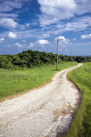 Winding small road through green grassy plains under sky in vertical composition Stock Photo
