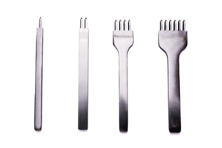 Lined four kinds of stitching chisels on a white background