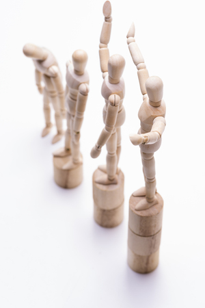 Wooden dolls direction from above that lined rank order in vertical composition Stok Fotoğraf