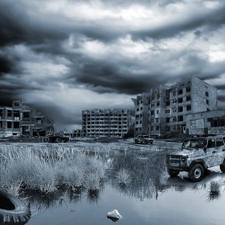 demolished house: apocalyptic landscape