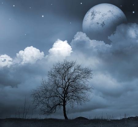 Nacht landschap Stockfoto