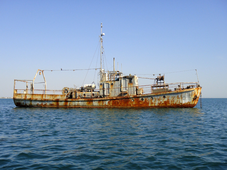 hovercraft: Old rusty ship Stock Photo