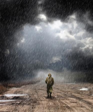 walking in the rain Stockfoto