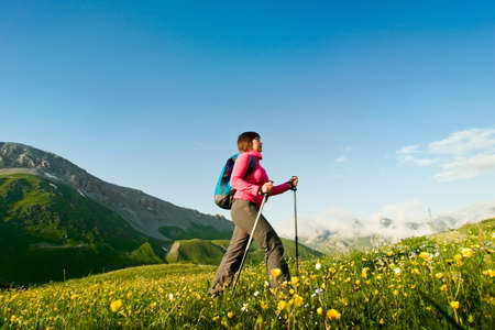 woman hiking in the mountain Stock Photo - 13369648